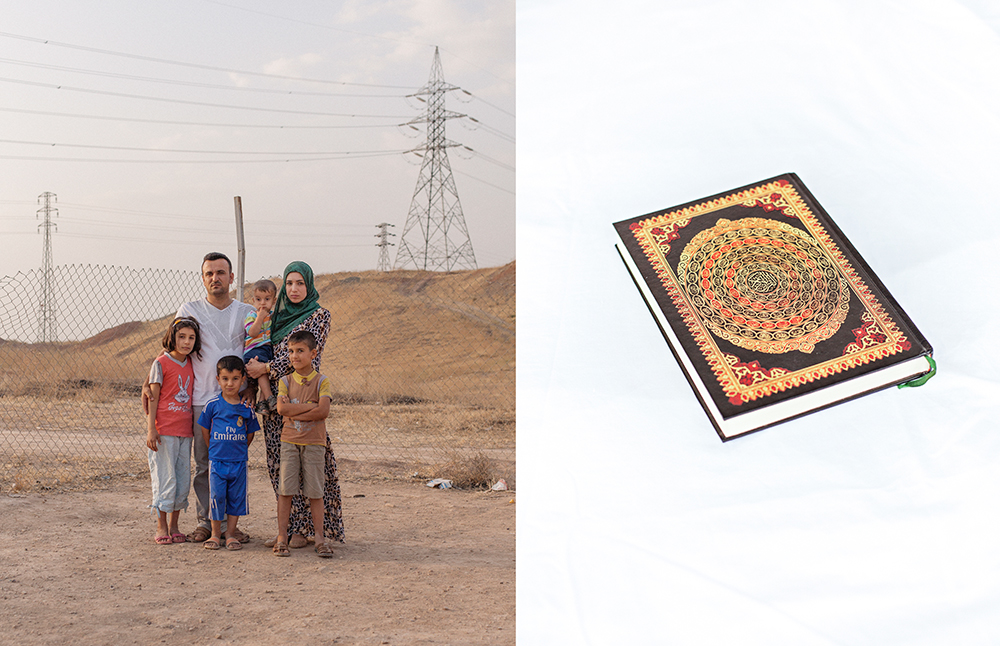 24/05/15 - Chermo camp, Chamchamal, Iraq - A portrait of Hayder, 32, his wife Zahraa, 27, and their kids Nabaa, Moustafa, Muhamed and Fadel. From Bartella, Mosul. The holy Quran that Hayder took with him when leaving his home in Bartella. © Dario Bosio and Stefano Carini/Metrography