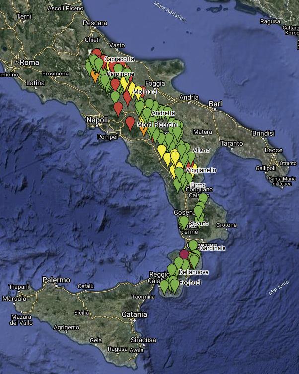 """Mappa con le tappe del progetto """"Varco Appennino"""" di Simone Donati"""